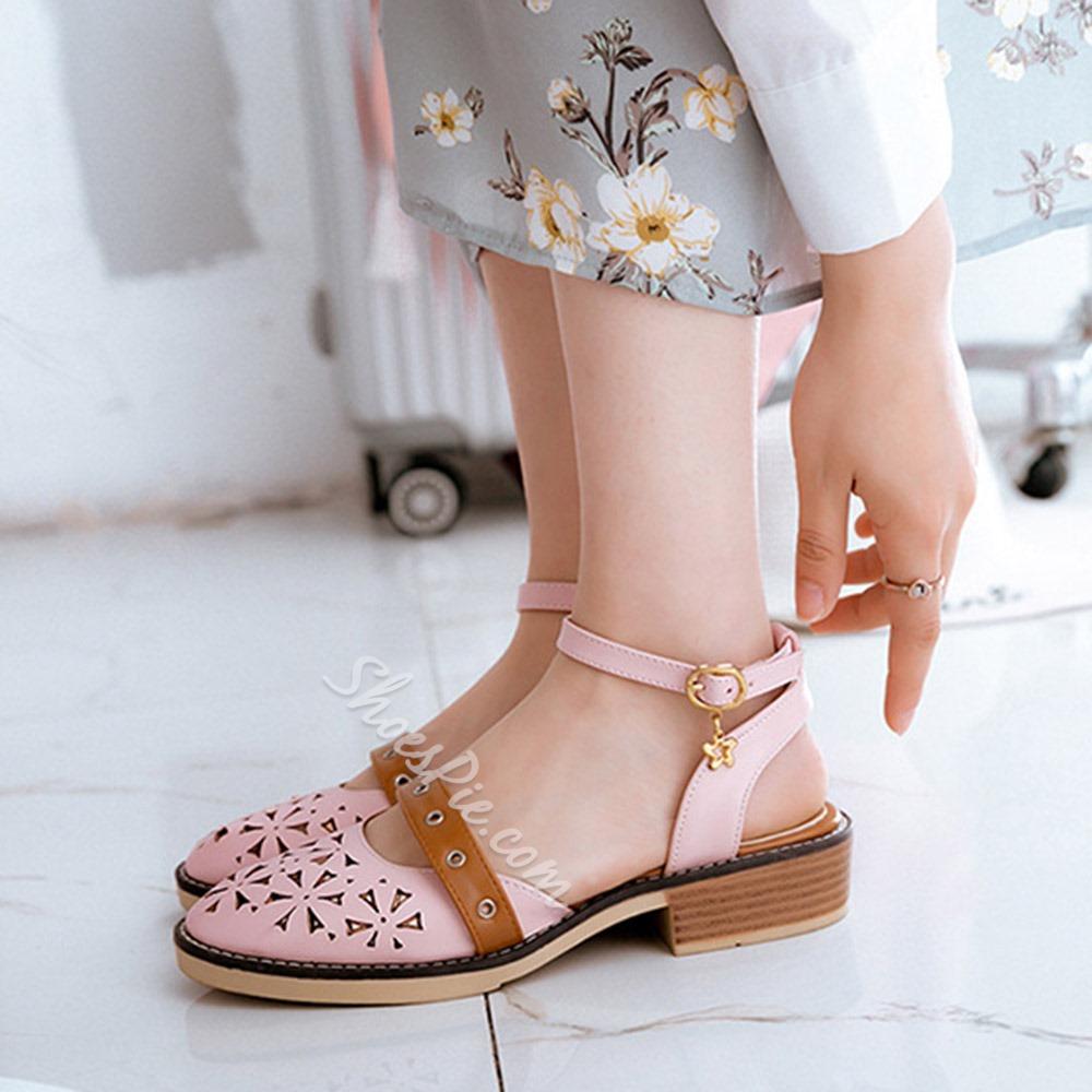 Ankle Strap Hollow Closed Toe Dress Sandals