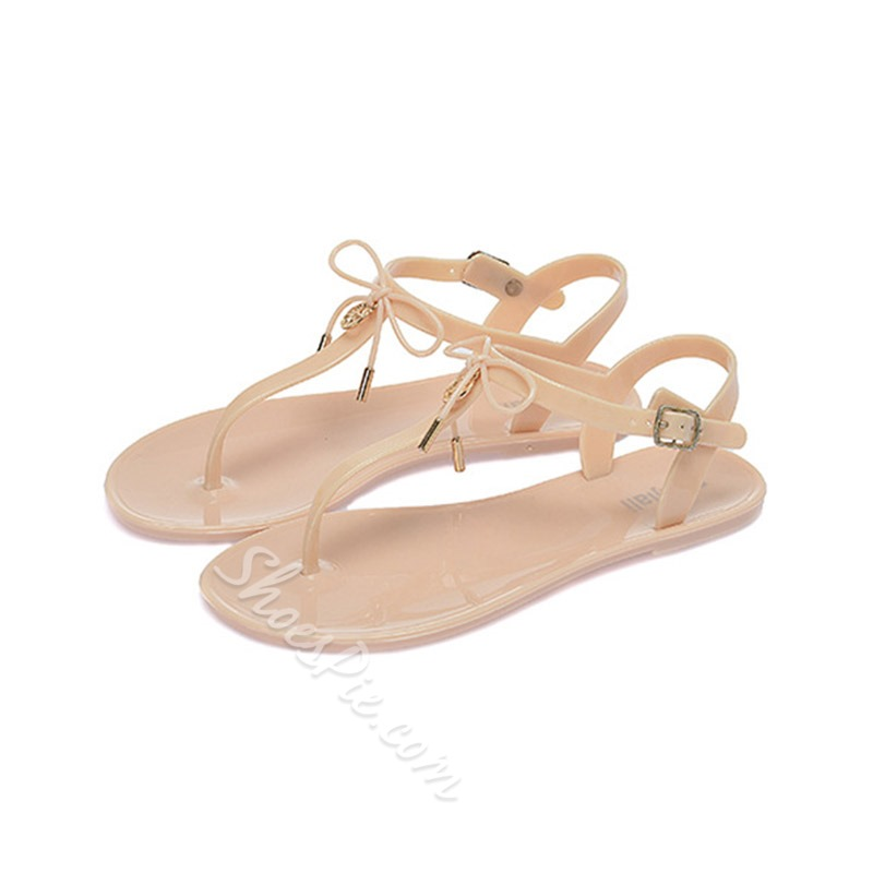 Bow T-Shaped Buckle Flat Sandals