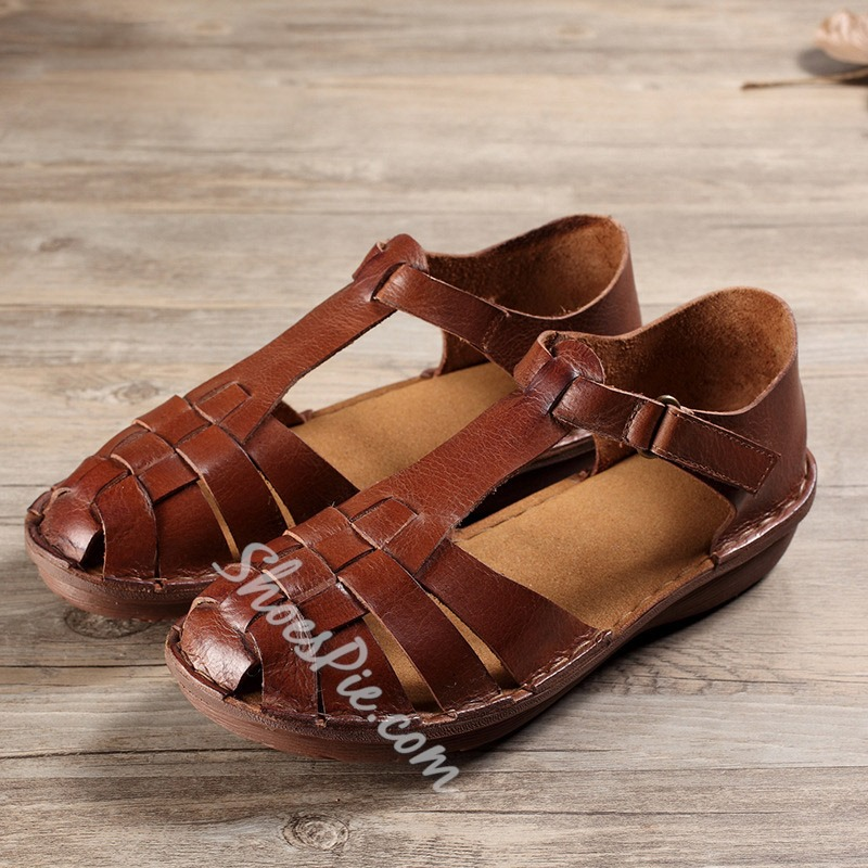 Brown Hollow Velcro Flat Sandals