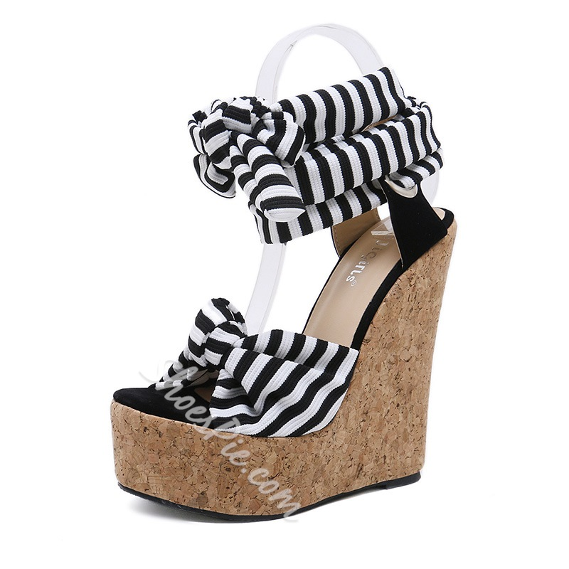 Stripe Bow Lace-Up Peep Toe Wedge Sandals