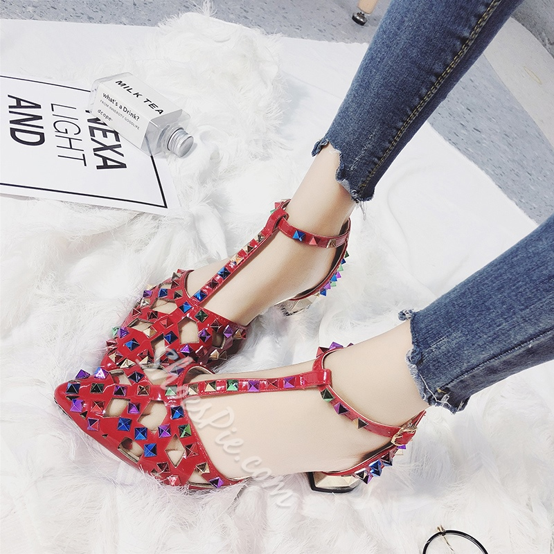 Hollow Rivet T-Shaped Buckle Pointed Toe Sandals