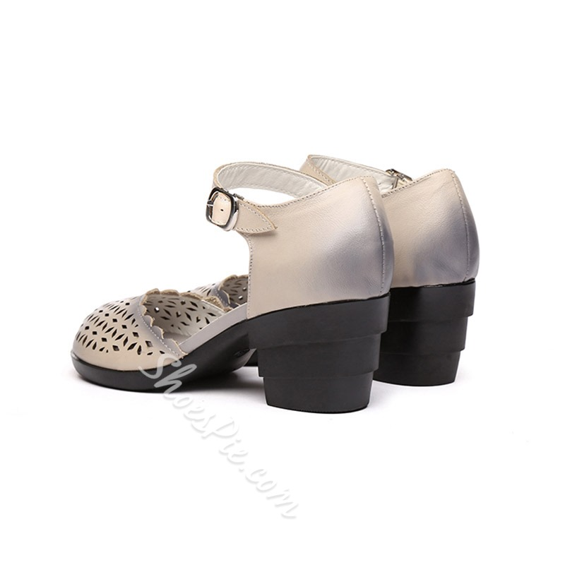 Closed Toe Buckle Brush Off High Heels