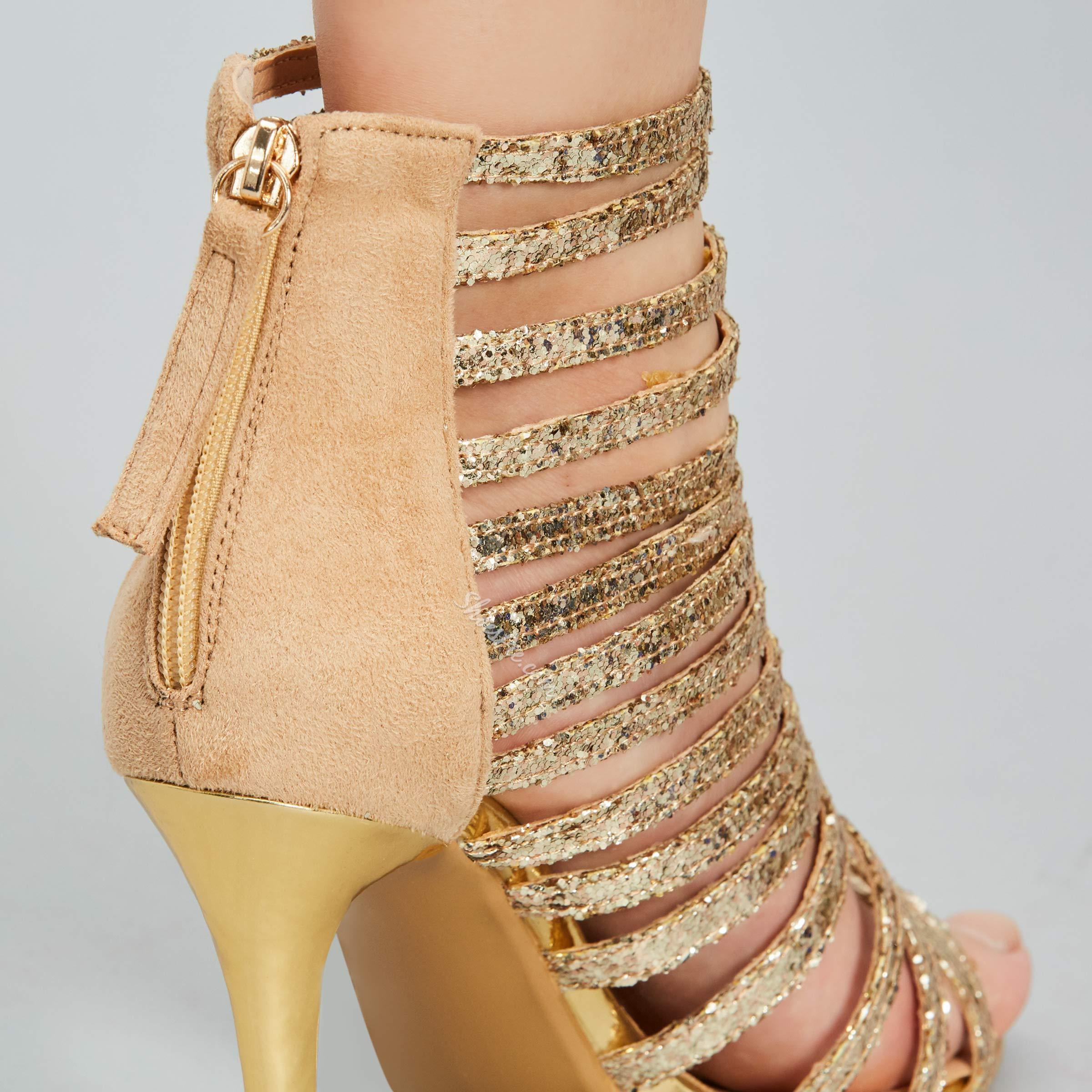 Shoespie Solid Color Sequined Zipper Dress Sandals