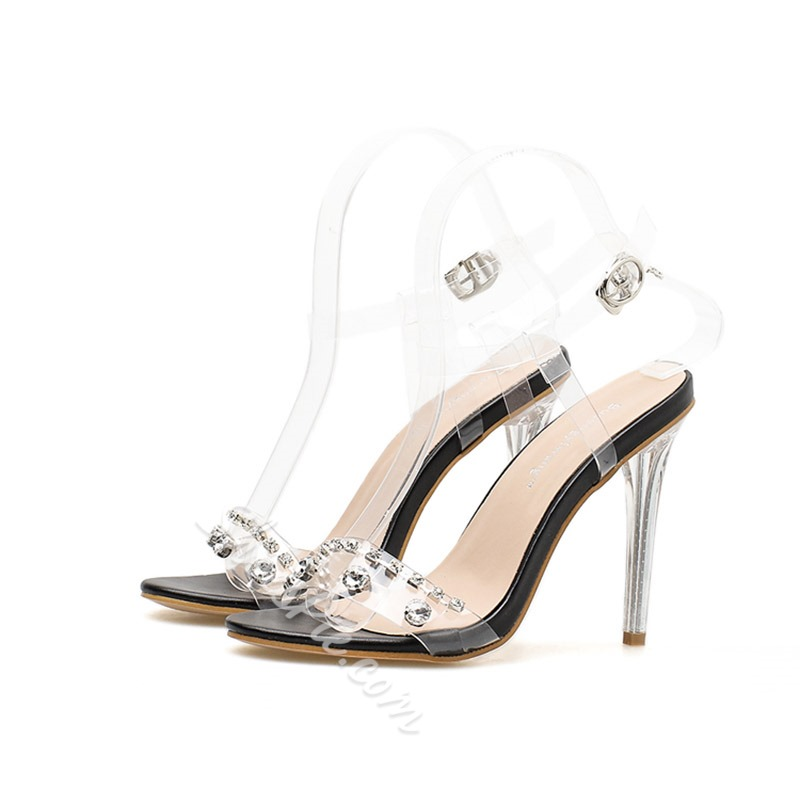Jelly Rhinestone Ankle Strap Stiletto Sandals