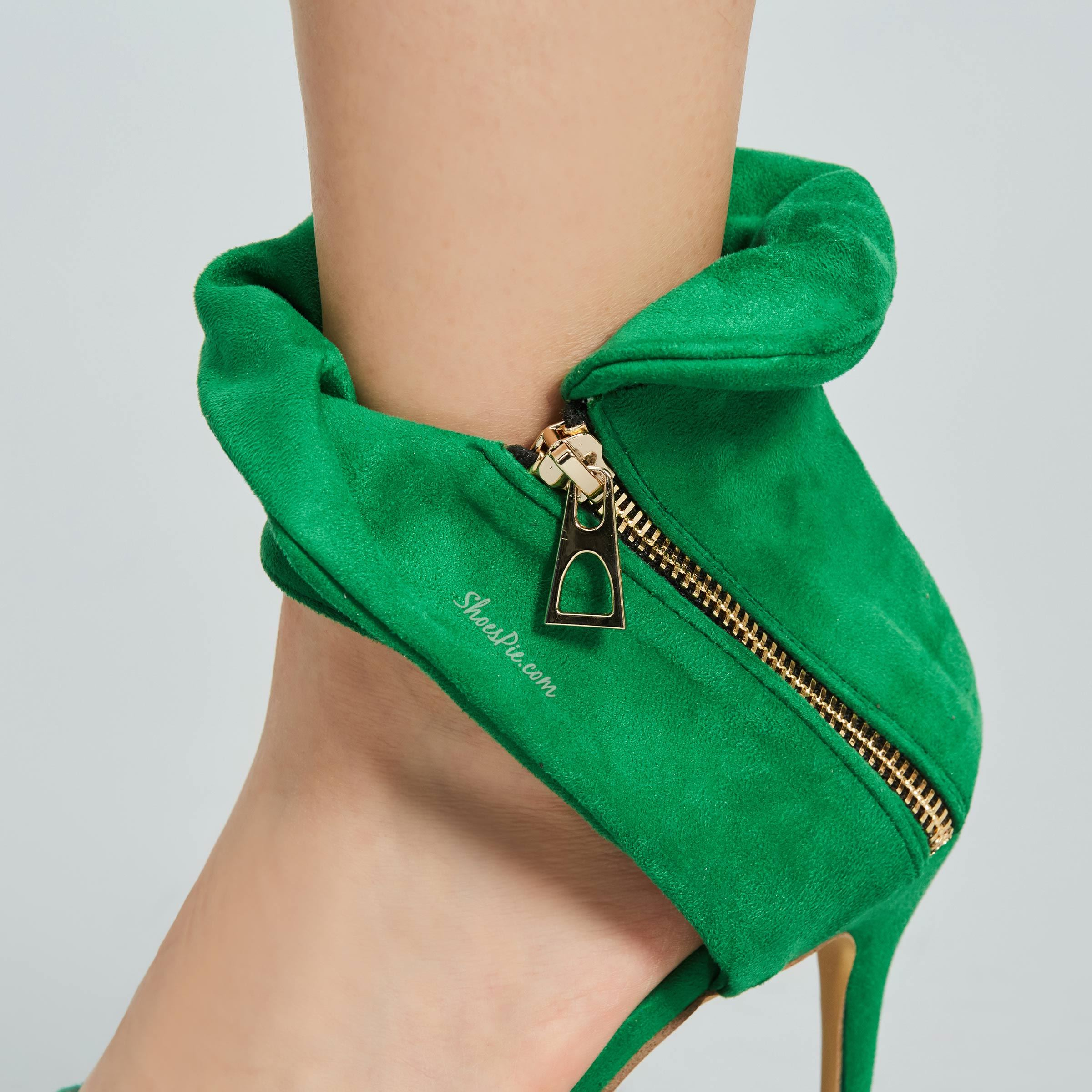 Shoespie Green Falbala Peep Toe Stiletto Heel Shoes