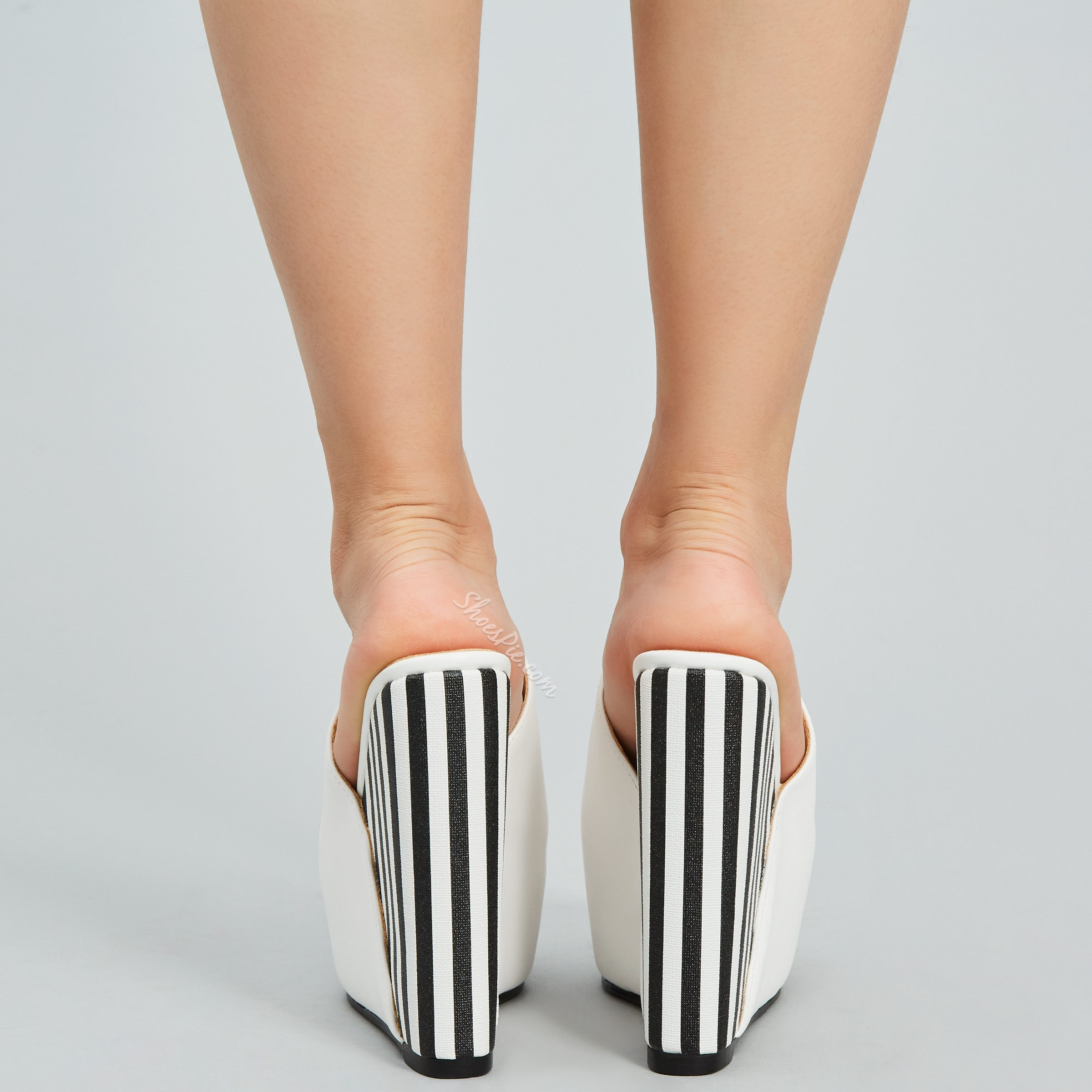 Shoespie White Platform Stripe Peep Toe Wedge Heels