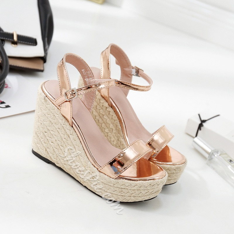 Ankle Strap Open Toe Wedge Sandals