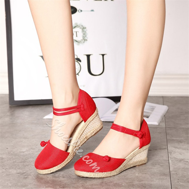 f245e256f6f Buckle Closed Toe Cute Wedge Sandals- Shoespie.com