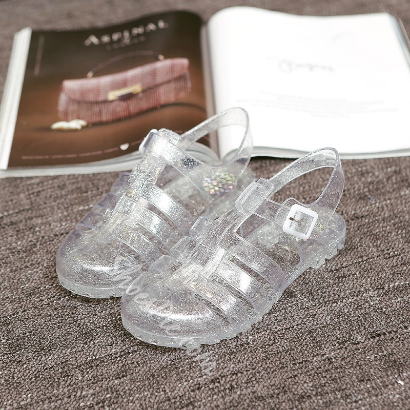 Jelly Round Toe Buckle Flat Sandals