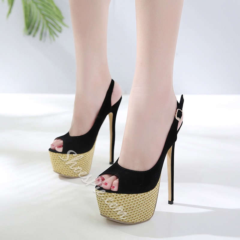 07cd5f0ff95 Black Slingback Stiletto Platform Sandals- Shoespie.com