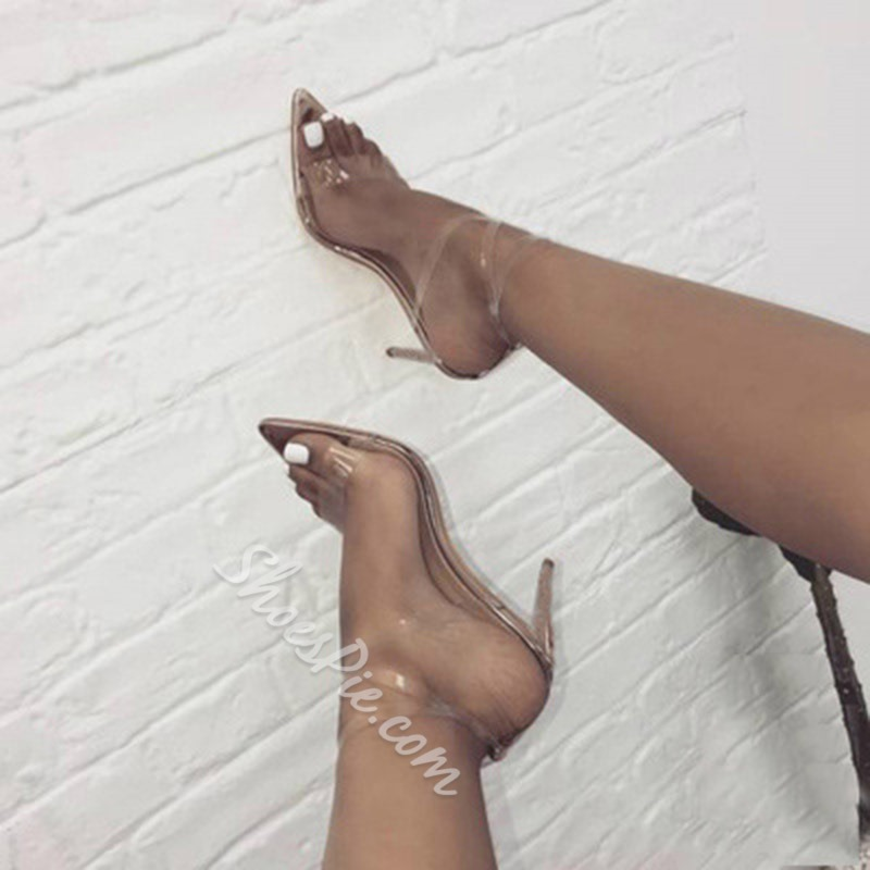Golden Jelly Ankle Strap Stiletto Dress Sandals