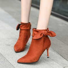 Bow Casual Pointed Toe Suede Stiletto Heel Ankle Boots
