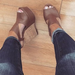 Brown Platform Peep Toe Wedge Sandals