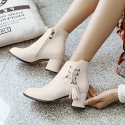 Fringe Lace-Up Casual Ankle Boots