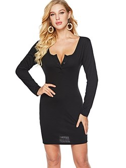 Shoespie Regular Button Fall Women's Bodycon Dress