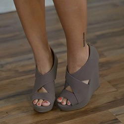 Casual Platform Peep Toe Wedge Heels
