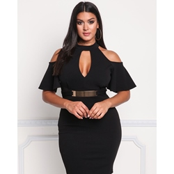 Shoespie Half Sleeve Polyester Pullover Women's Bodycon Dress
