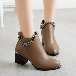 Shoespie Pointed Toe Chain Ankle Boots