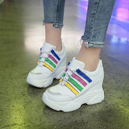 Shoespie Round Toe Wedge Sneakers