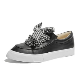 Shoespie Black & White Lace-Up Women Sneakers