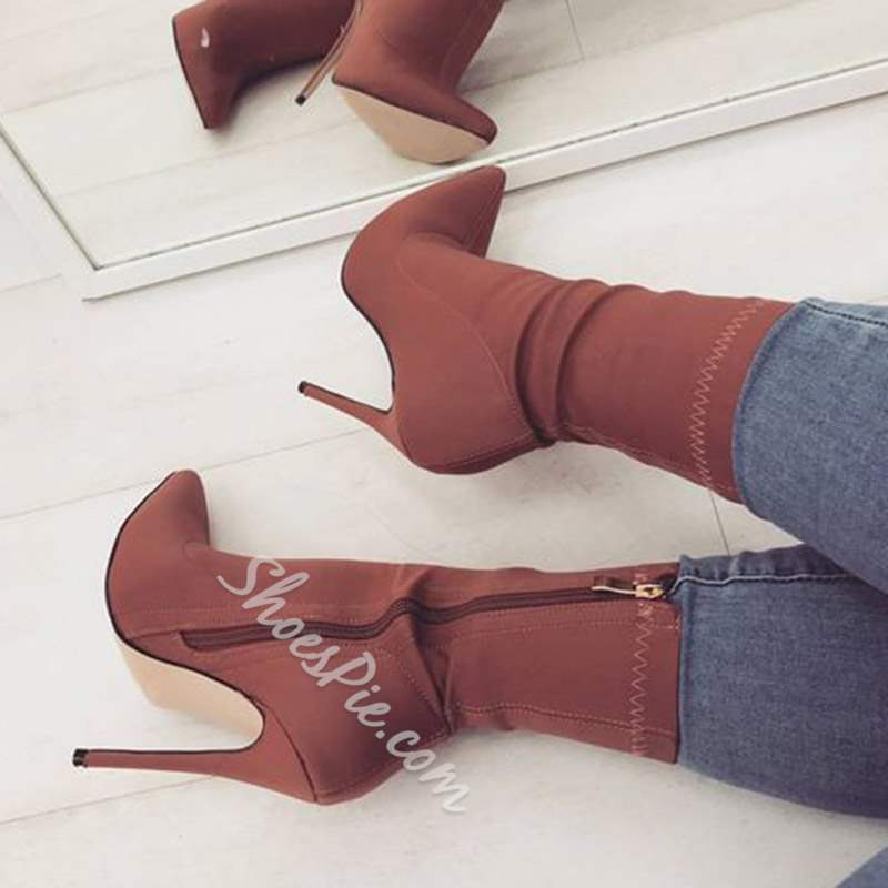 Thread Pointed Toe Stiletto Heel Ankle Boots