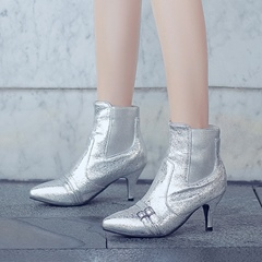 Buckle Slip-On Pointed Toe Kitten Heel Ankle Boots