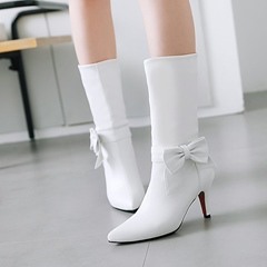 Shoespie Cute Bow Slip-On Ankle Boots