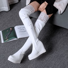 Lace Platform Casual Hidden Heel Thigh High Boots