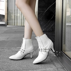 Rivet Buckle Pointed Toe Kitten Heel Ankle Boots