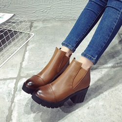 Thread Brush Off Round Toe Chelsea Ankle Boots