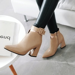 Buckle Casual Pointed Toe Ankle Boots