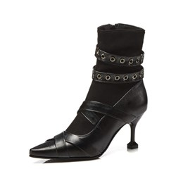 Shoespie Black Rivet Pointed Toe Ankle Boots