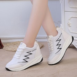 Black & White Lace-Up Wedge Sneakers