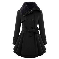 A Line Button Double-Breasted Mid-Length Women's Overcoat