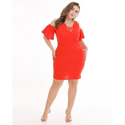 Shoespie Red Polyester Pullover Women's Bodycon Dress