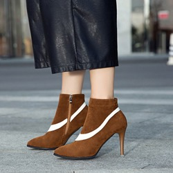 Suede Pointed Toe Stiletto Heel Ankle Boots