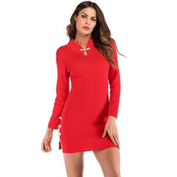 Shoespie Button Sexy Plain Women's Bodycon Dress