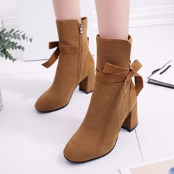Suede Bow Casual Ankle Boots