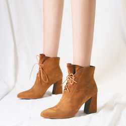 Casual Pointed Toe Lace-Up Fashion Ankle Boots