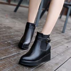 Black Platform Buckle Wedge Heel Ankle Boots