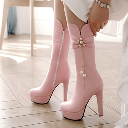 Shoespie Rhinestone Beads Chain Ankle Boots