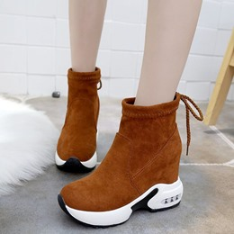 Suede Lace-Up Women's Wedge Sneakers