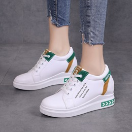 Shoespie Platform Lace-Up Wedge Sneakers