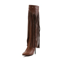 Rivet Fringe Pointed Toe Stiletto Heel Knee High Boots