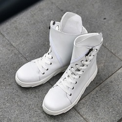 Thread Lace-Up Side Zipper Men's Sneakers