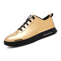 Sequin Round Toe Lace-Up Men's Sneakers