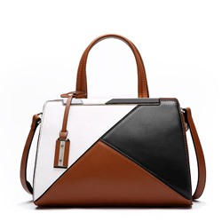 Shoespie Leather Color Block Patchwork Handbag