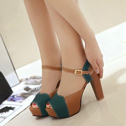 Color Block Ankle Strap Dress Sandals
