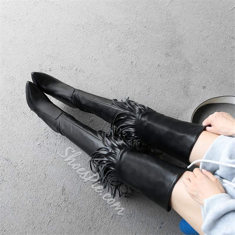 Shoespie Fringe Pointed Toe Stiletto Heel Thigh High Boots