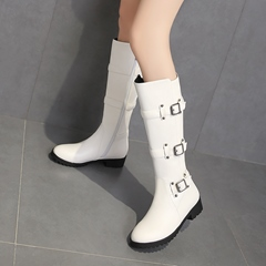 Rivet Buckle Fashion Knee High Boots
